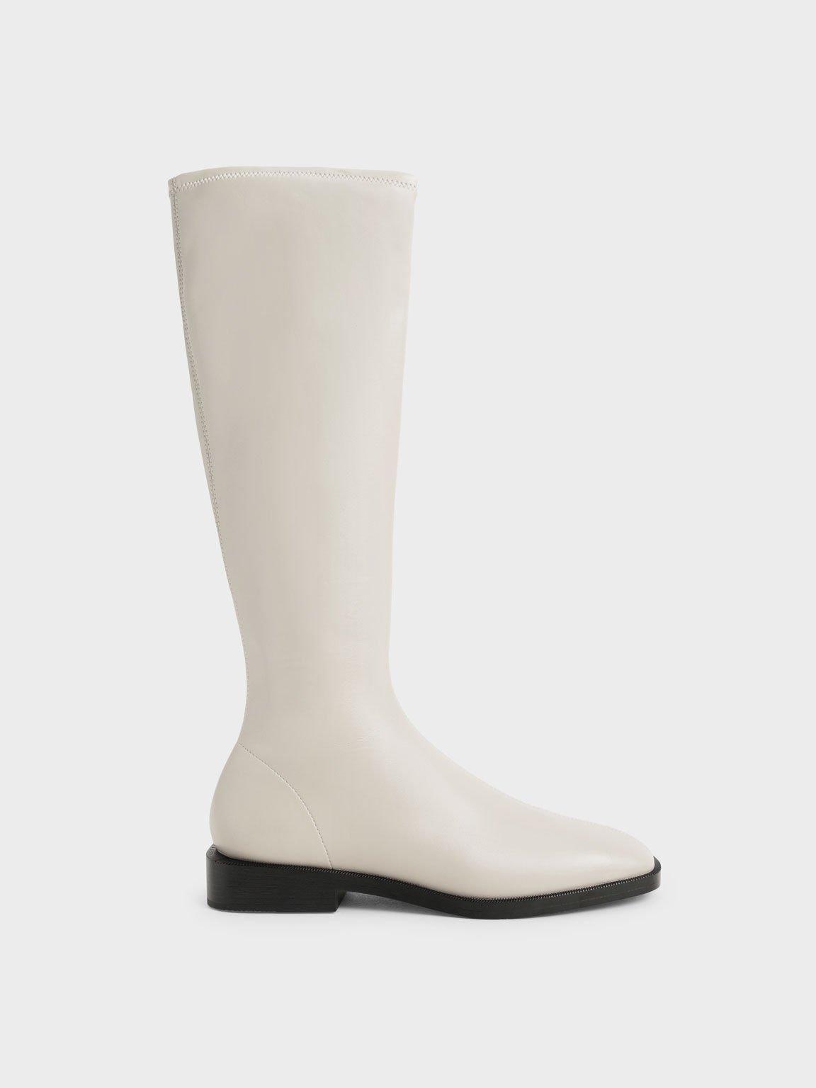 Knee High Flat Boots, Chalk, hi-res