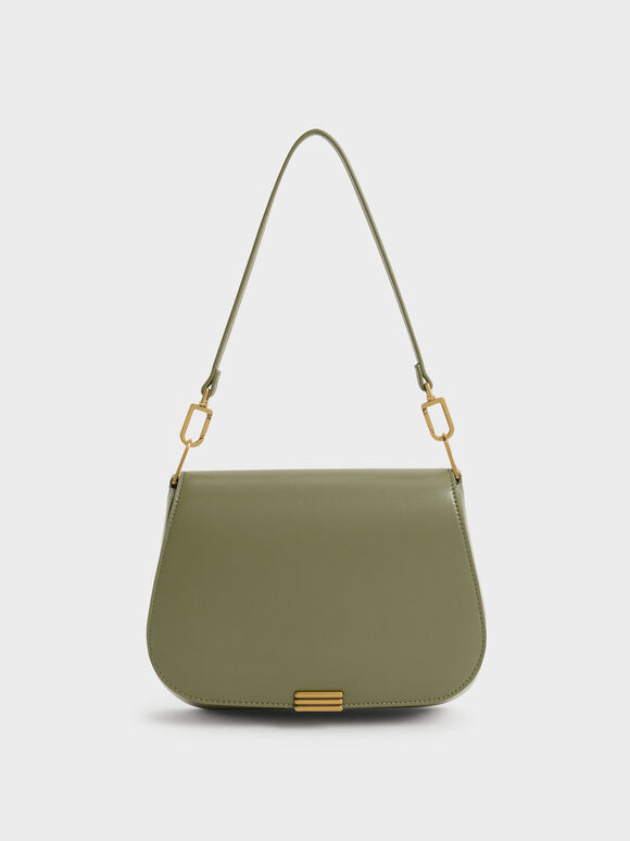 Metallic Accent Shoulder Bag, Olive, hi-res
