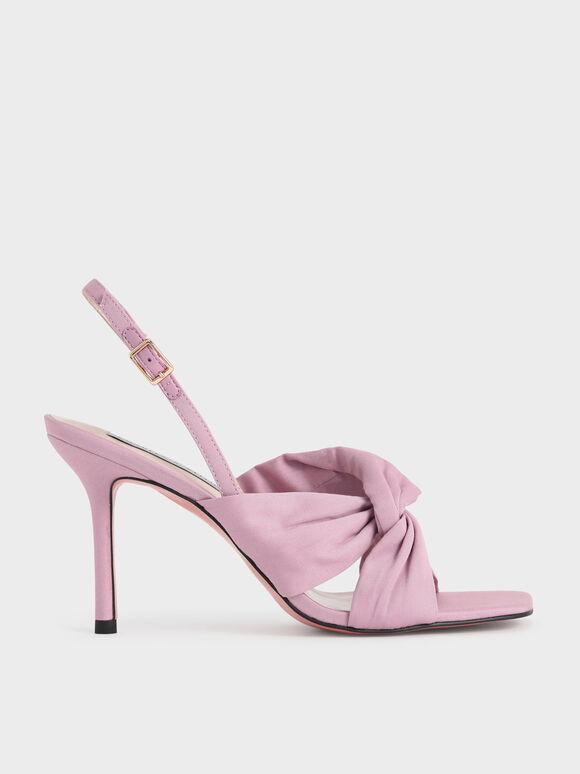 側扭結高跟涼鞋, 淺粉色, hi-res