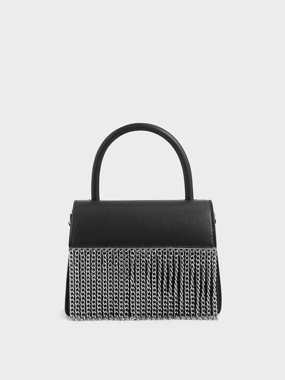 Metallic Fringe Top Handle bag, Black, hi-res