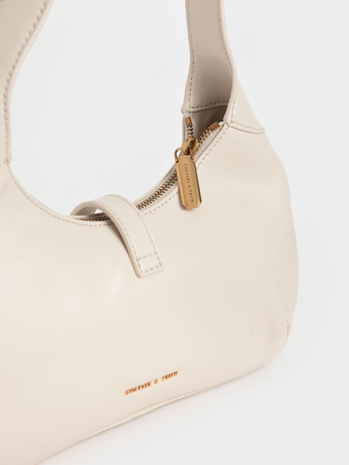 Metallic Accent Hobo Bag, Cream, hi-res