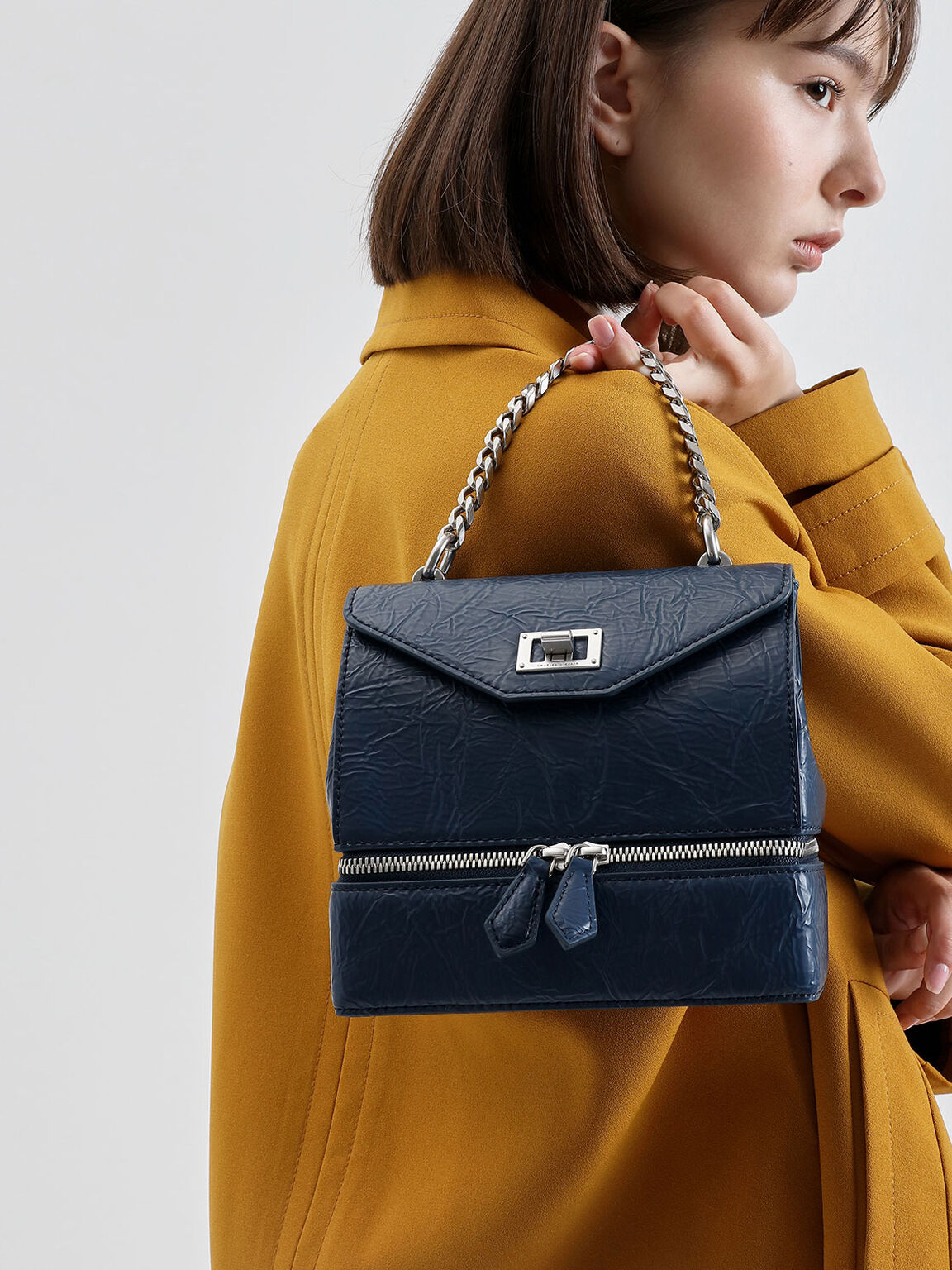 雙向拉鍊手提小包, 藍色, hi-res