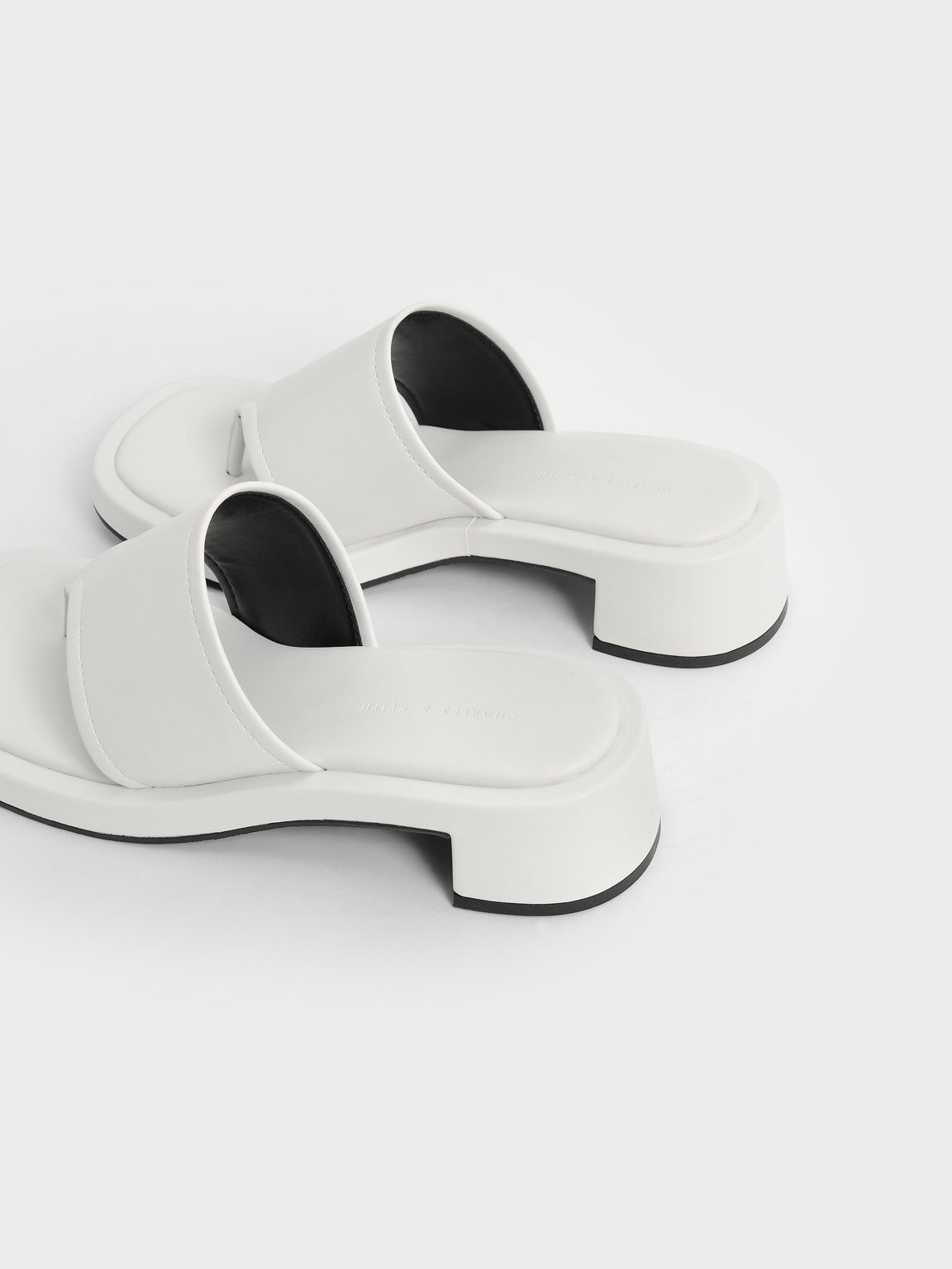 Padded Thong Sandals, White, hi-res