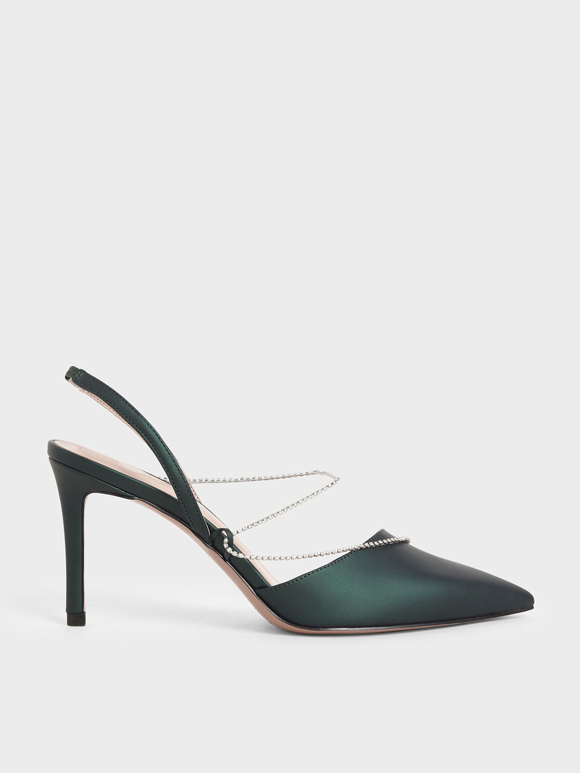 Gem-Strap Slingback Pumps, Dark Green, hi-res