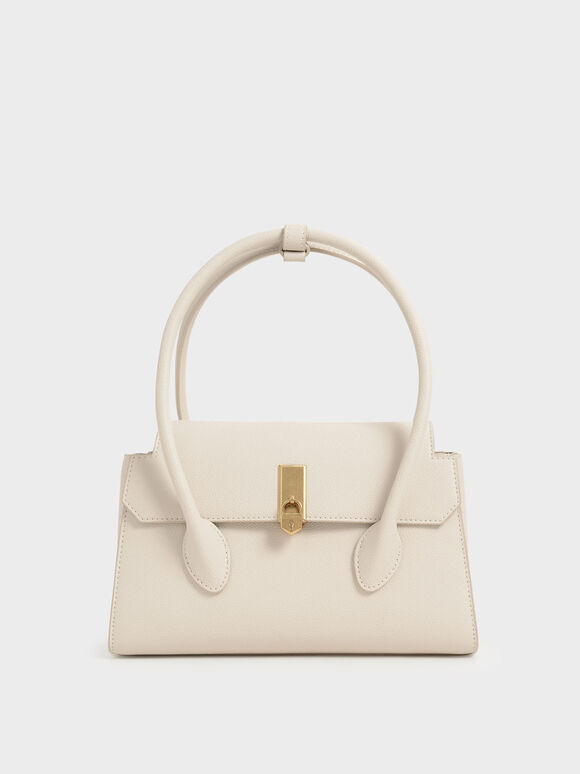 Double Handle Push-Lock Bag, Cream, hi-res