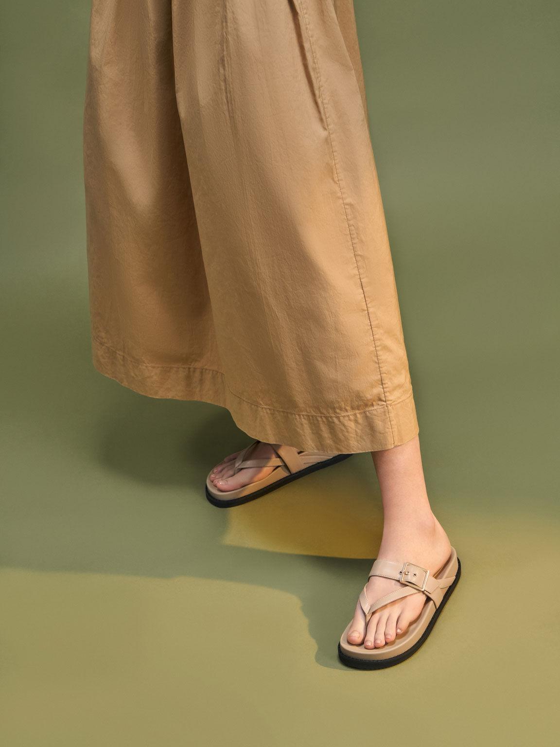 Buckled Thong Sandals, Beige, hi-res