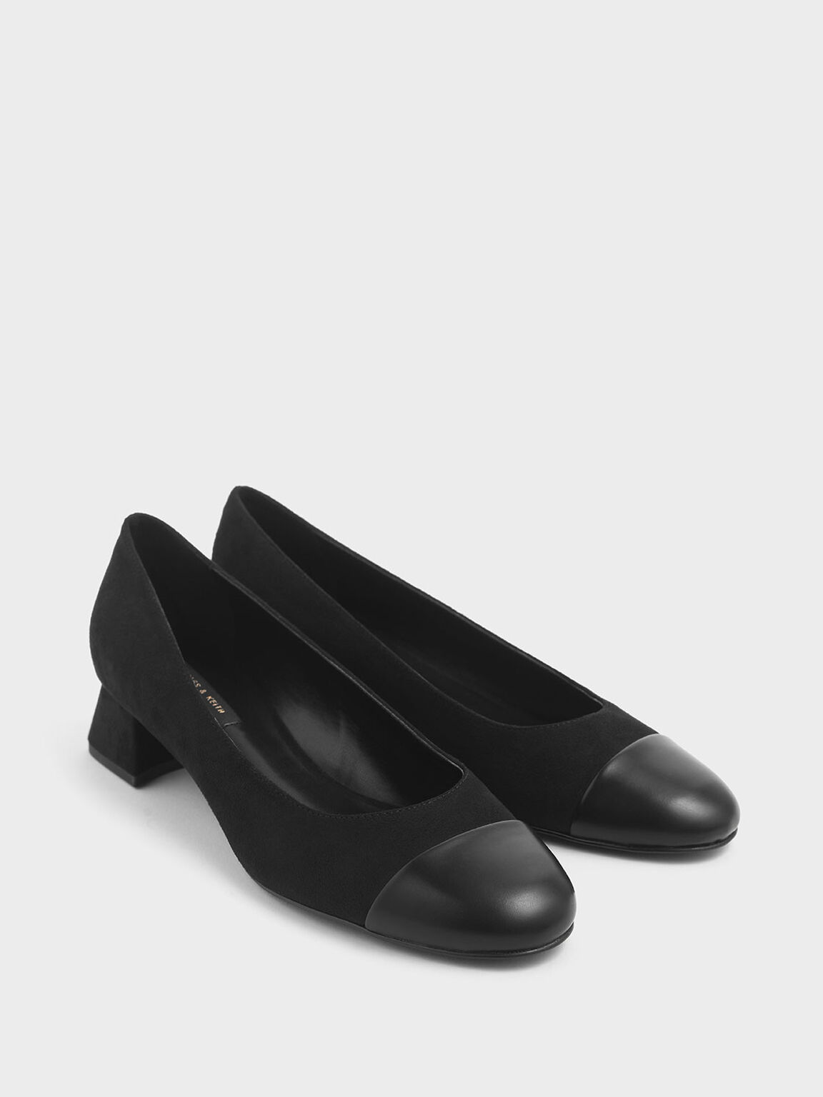 Round Toe Curved Block Heel Textured Pumps, Black, hi-res