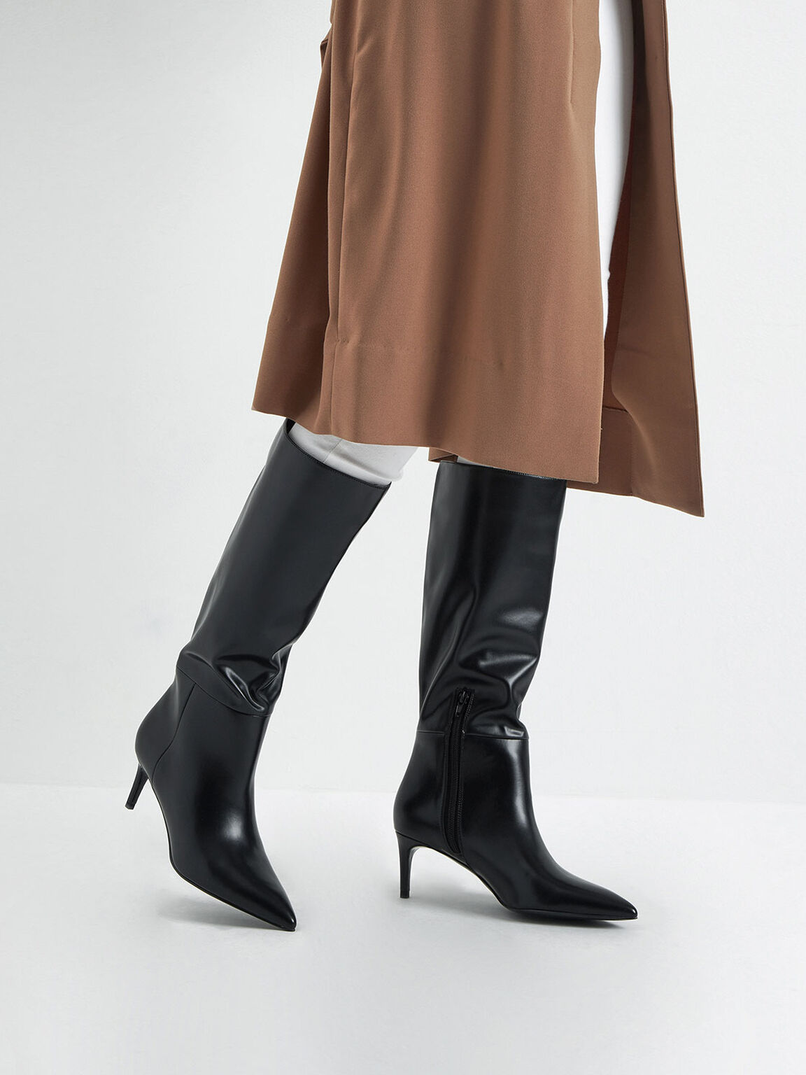 Knee High Boots, Black, hi-res
