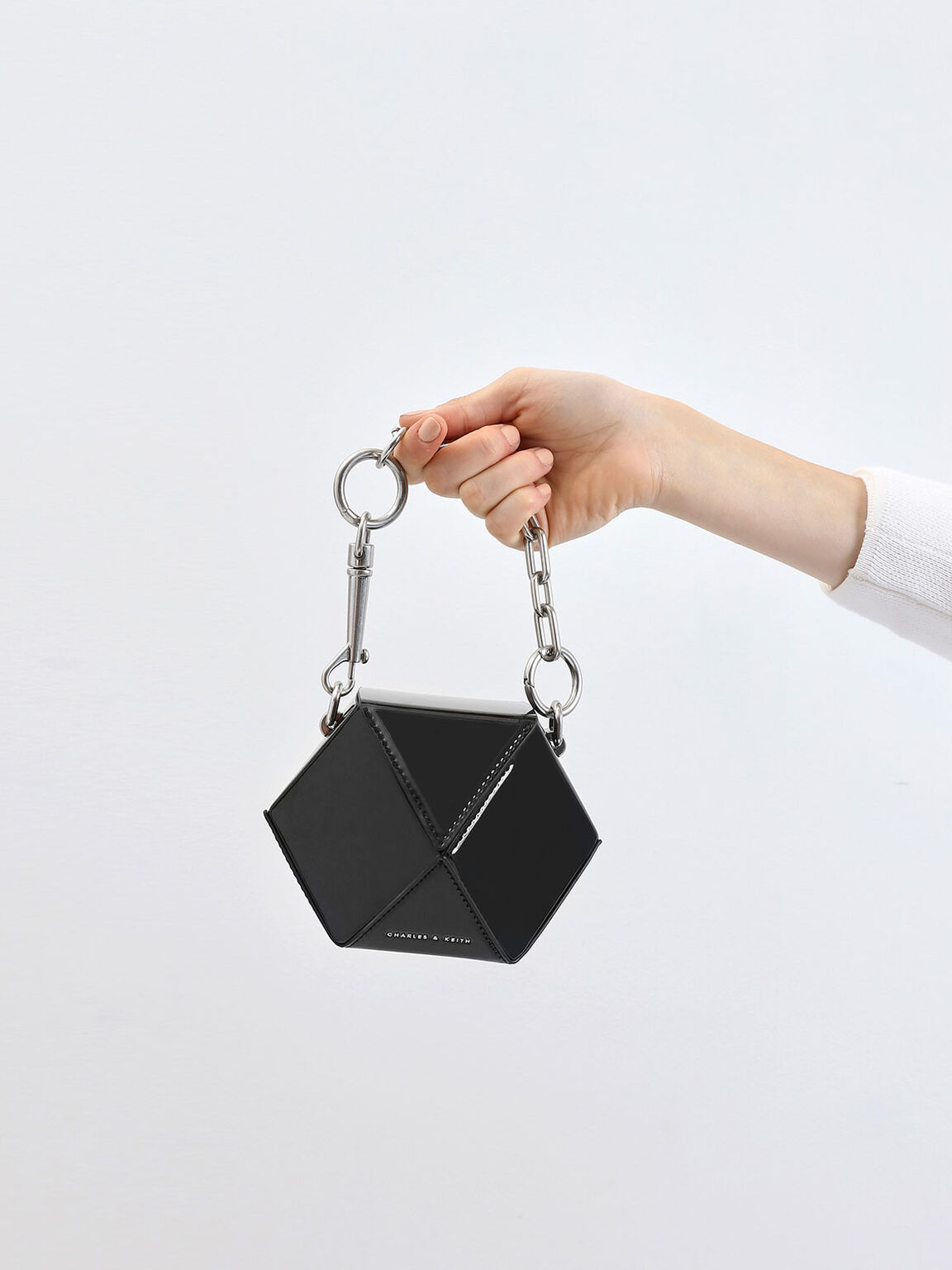 Chunky Chain Handle Patent Hexagon Clutch, Black, hi-res