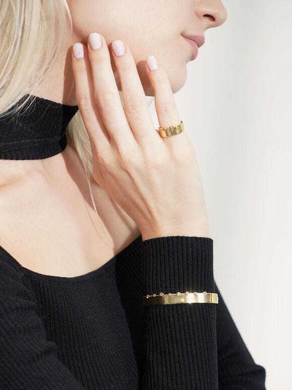 Swarovski® Crystal Studded Bracelet, Gold, hi-res