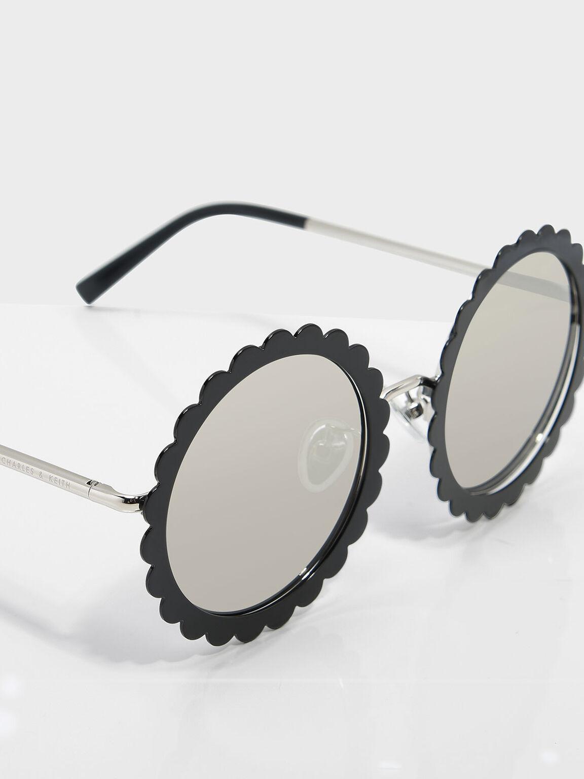 花朵造型圓框太陽眼鏡, 黑色, hi-res
