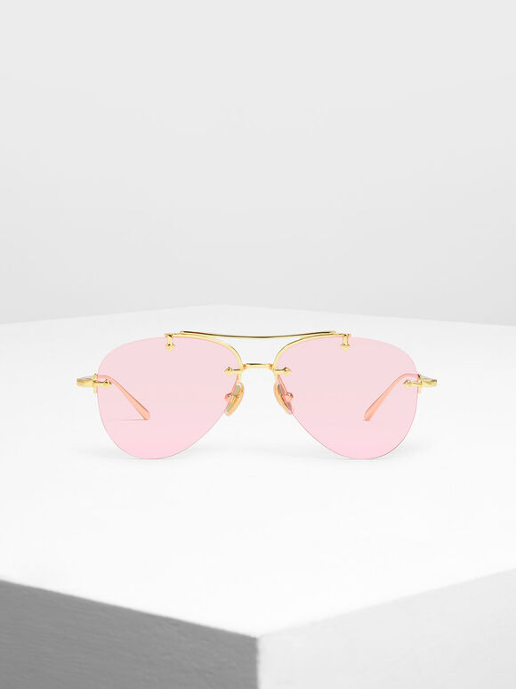 Frameless Aviator Sunglasses, Pink, hi-res