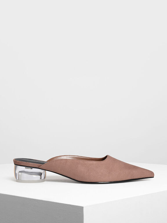 Lucite Heel Pointed Mules, Taupe