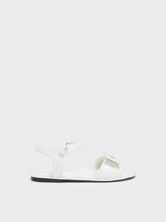 Girls' Bow Detail Open Toe Sandals, White, hi-res