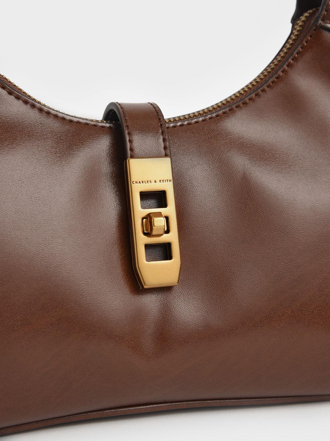 復古鎖肩背包, 土黃色, hi-res