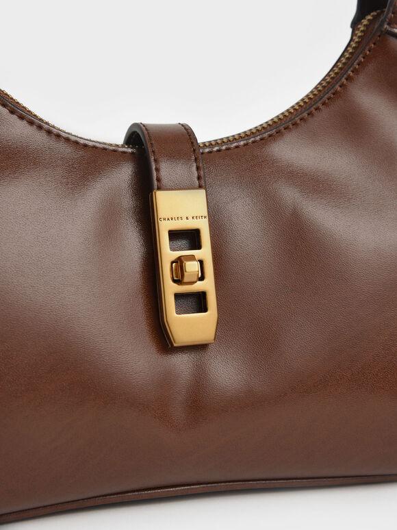 Metallic Accent Hobo Bag, Cognac, hi-res