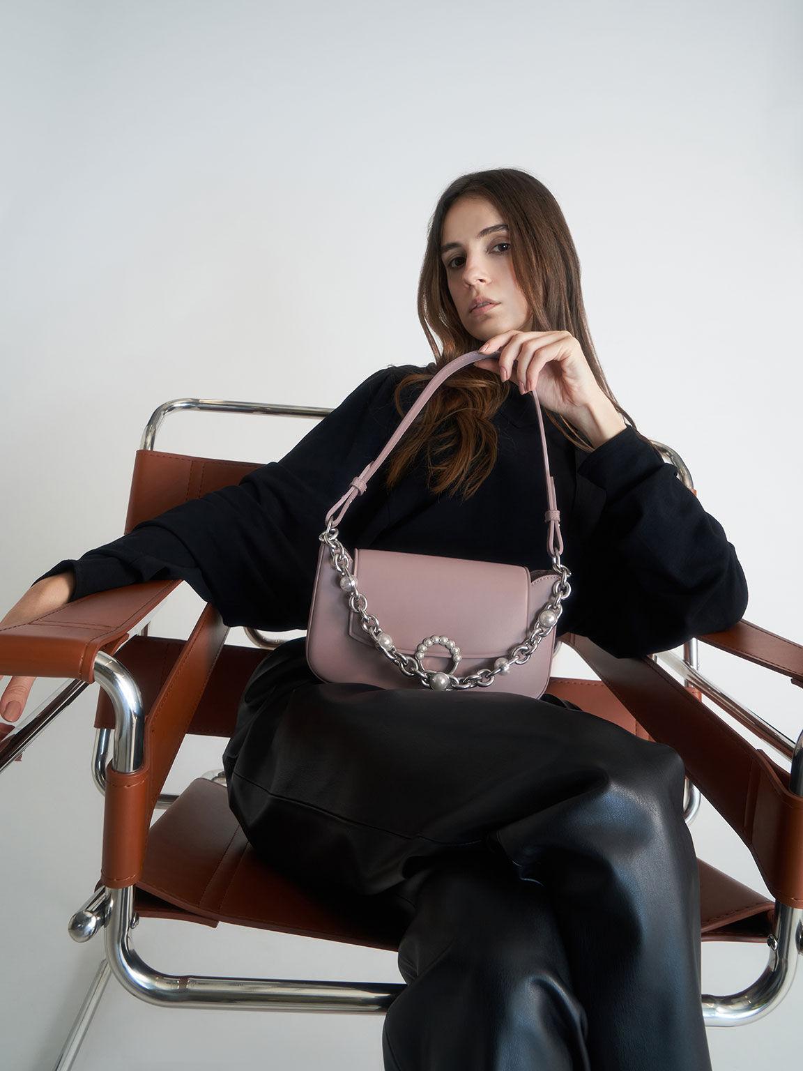 Embellished Chain Shoulder Bag, Lilac, hi-res