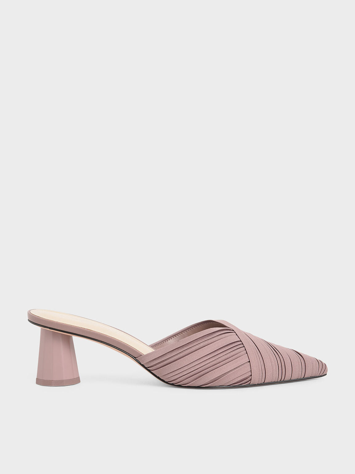 Pleated Pointed Toe Mules, Mauve, hi-res