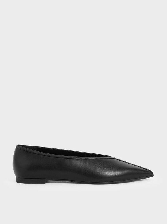 尖頭平底鞋, 黑色, hi-res