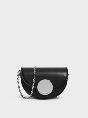 Circular Push Lock Saddle Pouch, Black