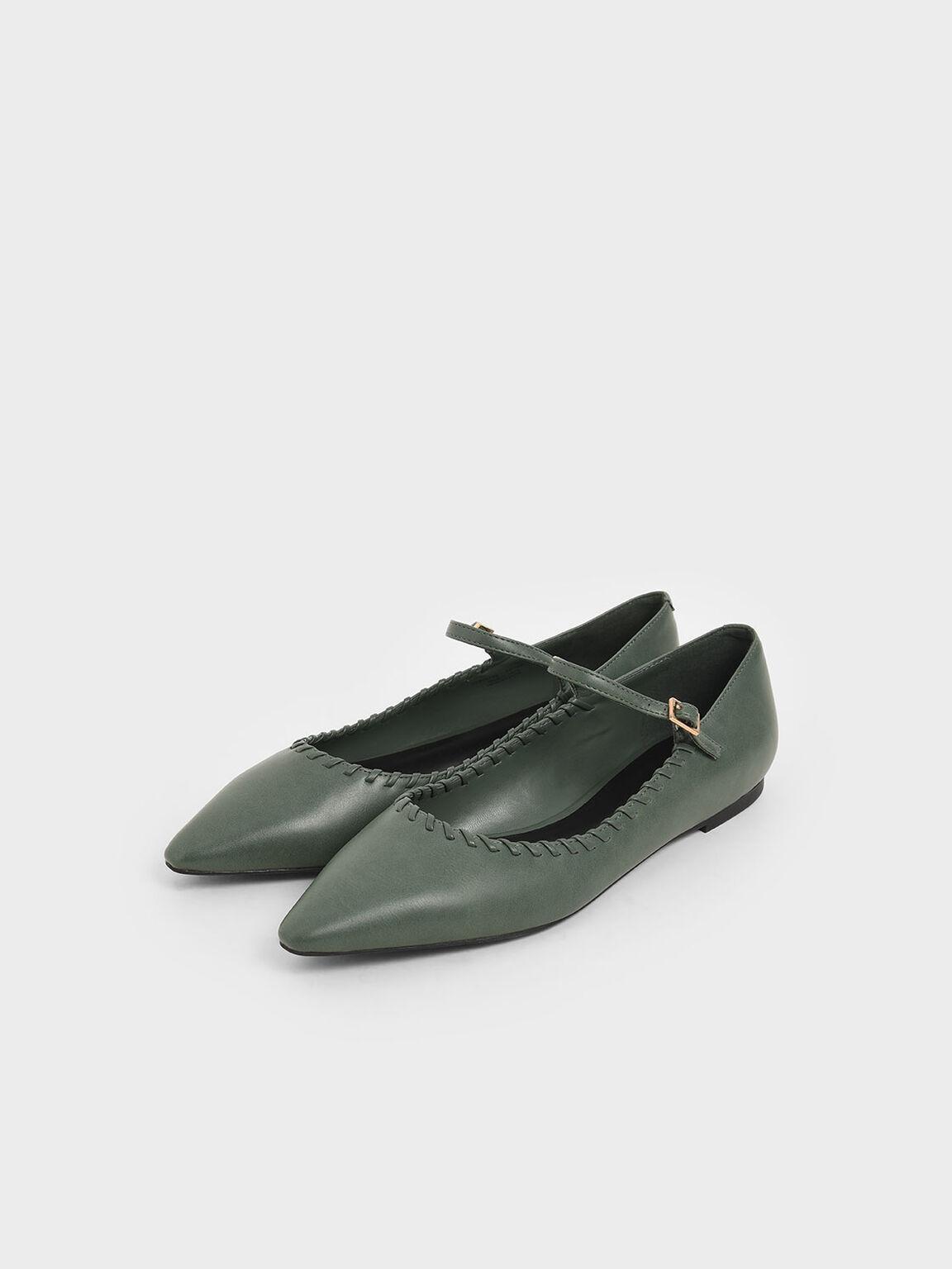 編織尖頭平底鞋, 綠色, hi-res