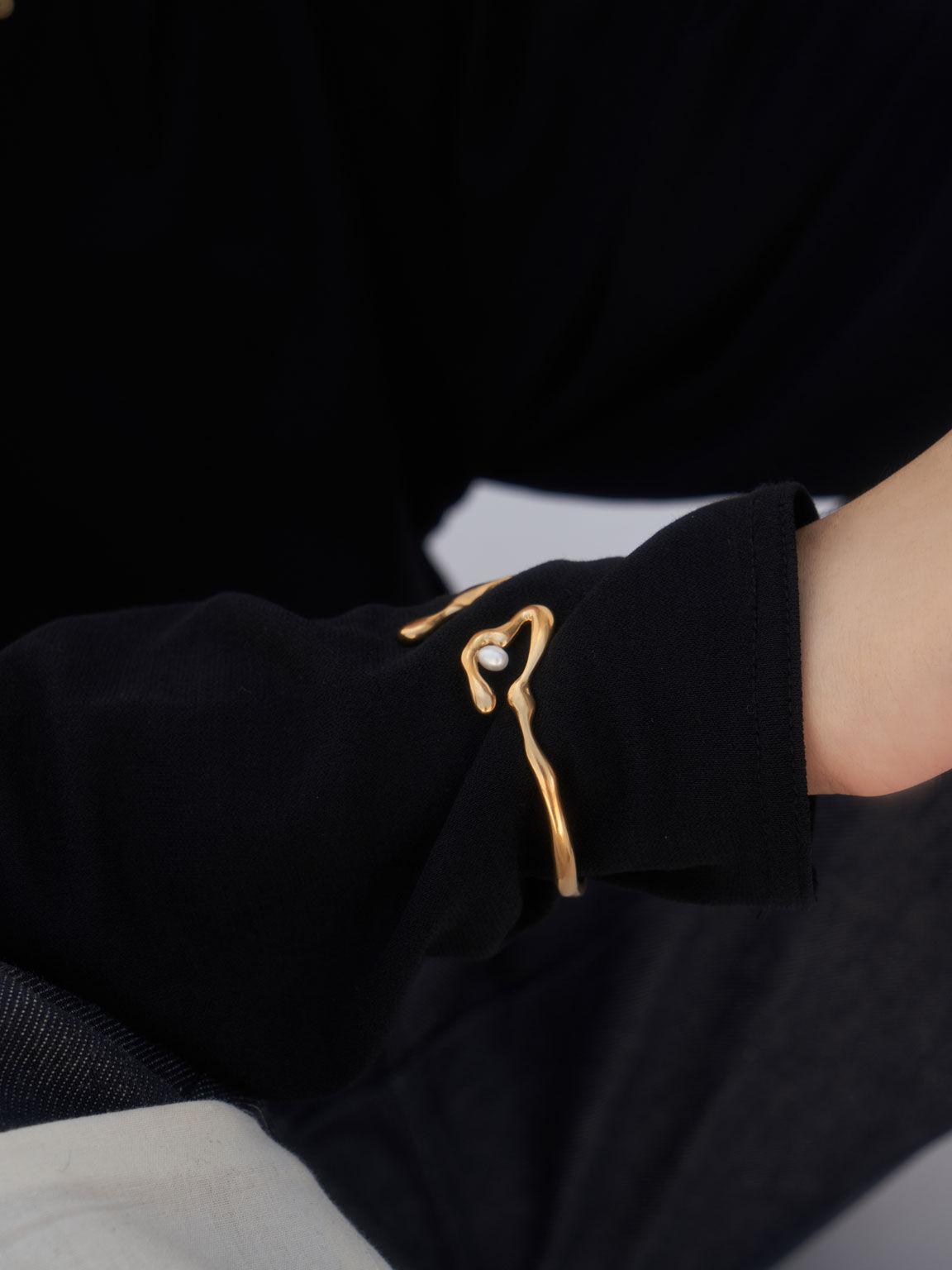 流動金屬手環, 粉金色, hi-res