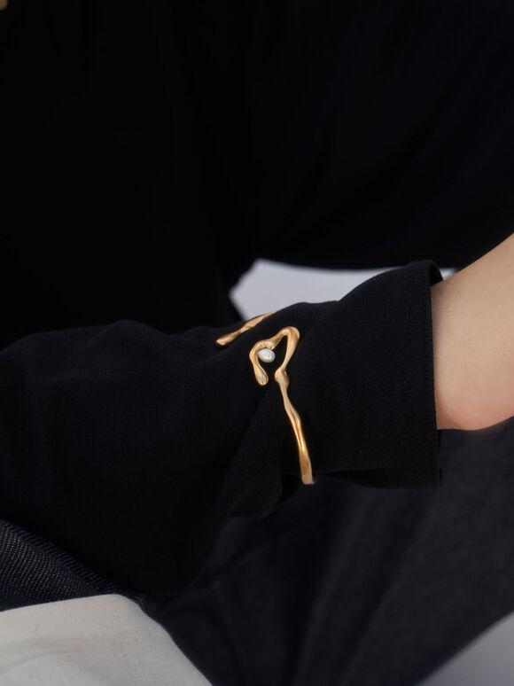 Sculpted Cuff Bracelet, Brush Gold, hi-res