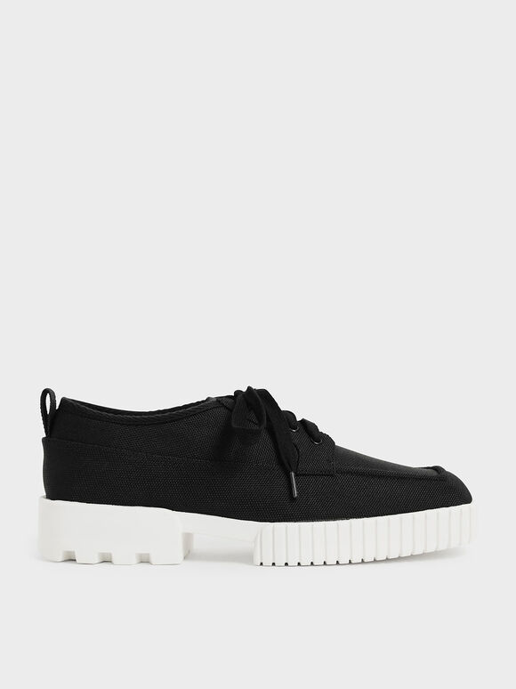Recycled Polyester Low-Top Sneakers, Black, hi-res