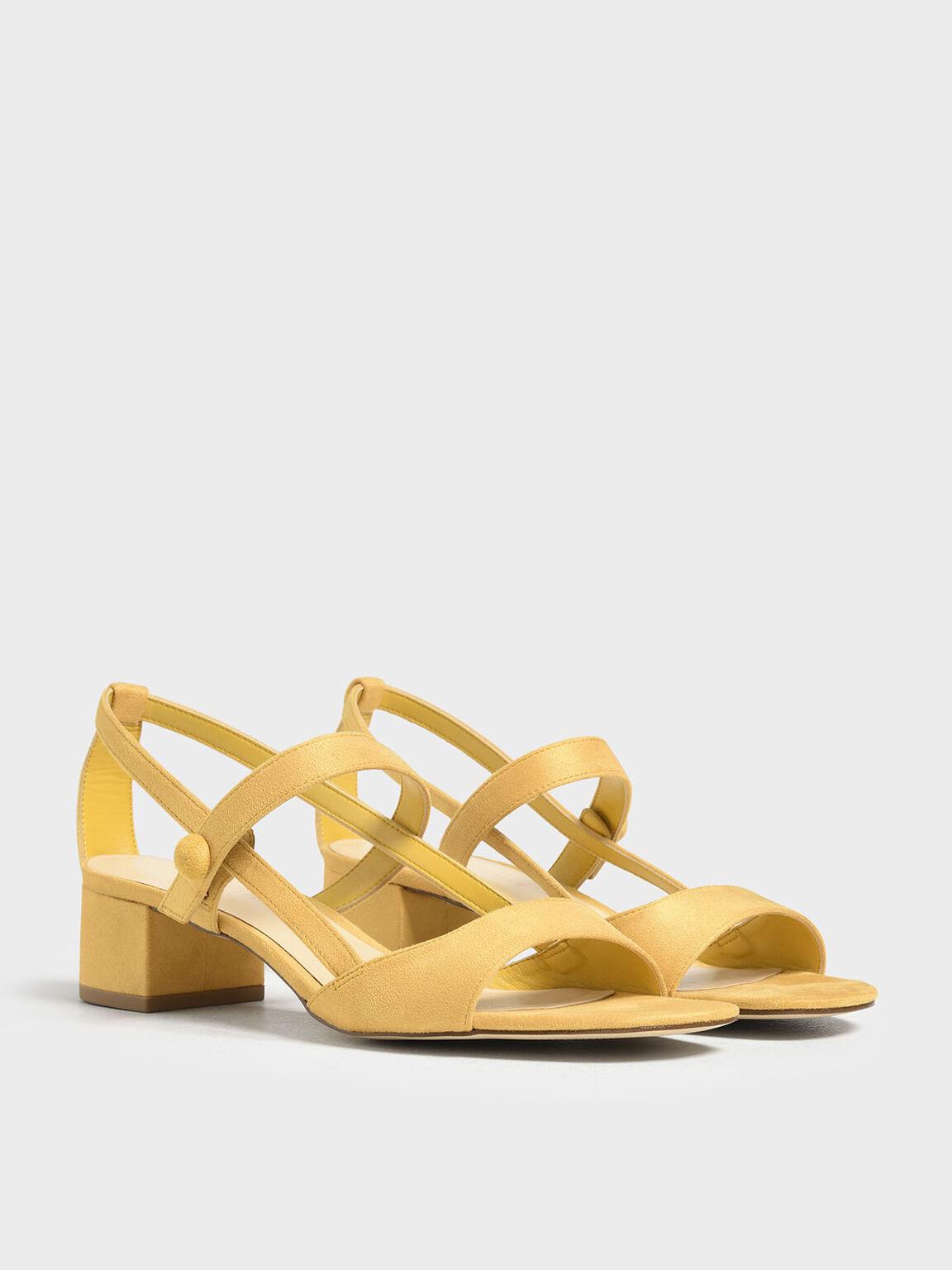 Open Toe Block Heel Sandals, Yellow, hi-res