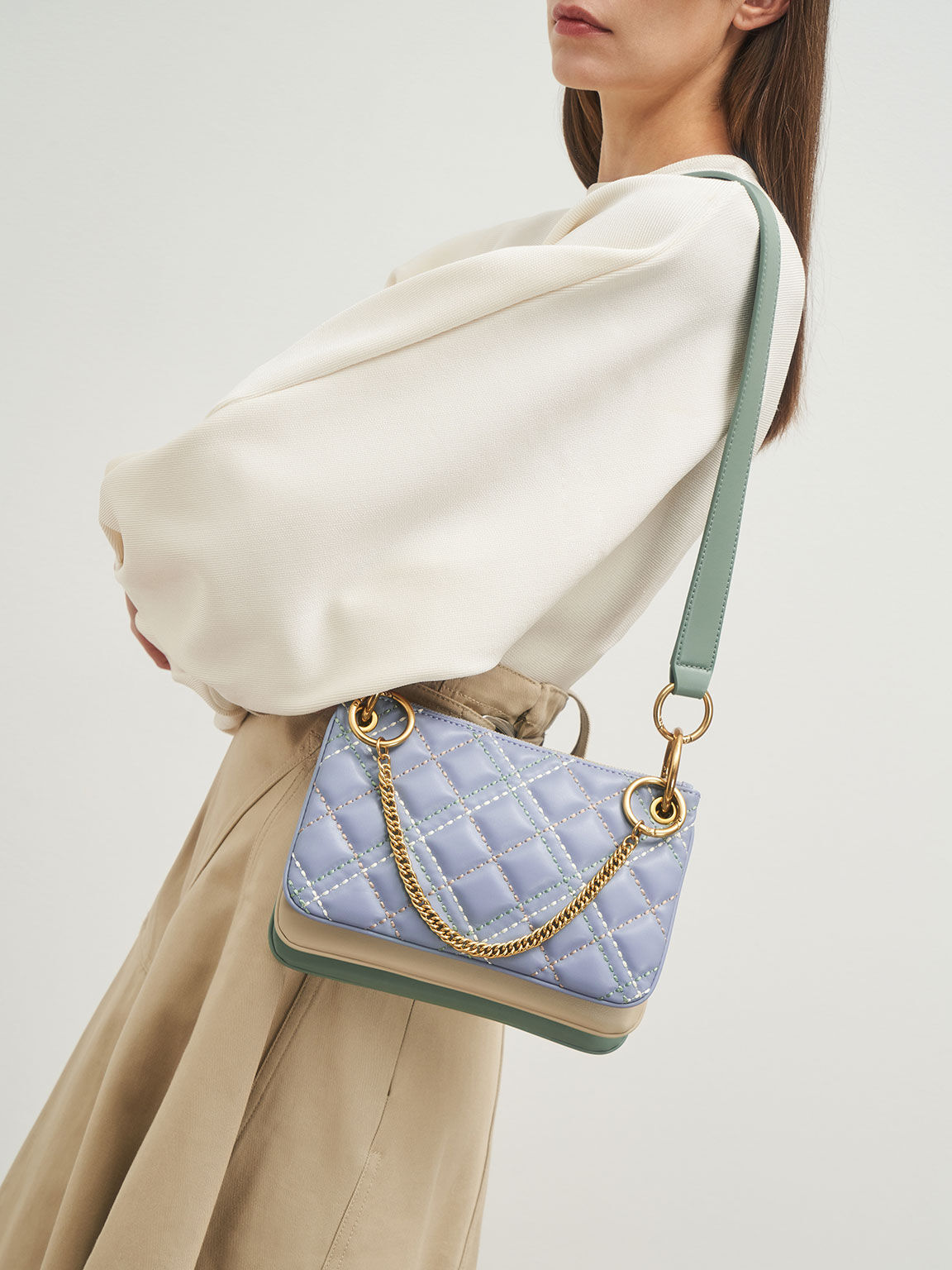 Quilted Metallic Handle Crossbody Bag, Light Blue, hi-res