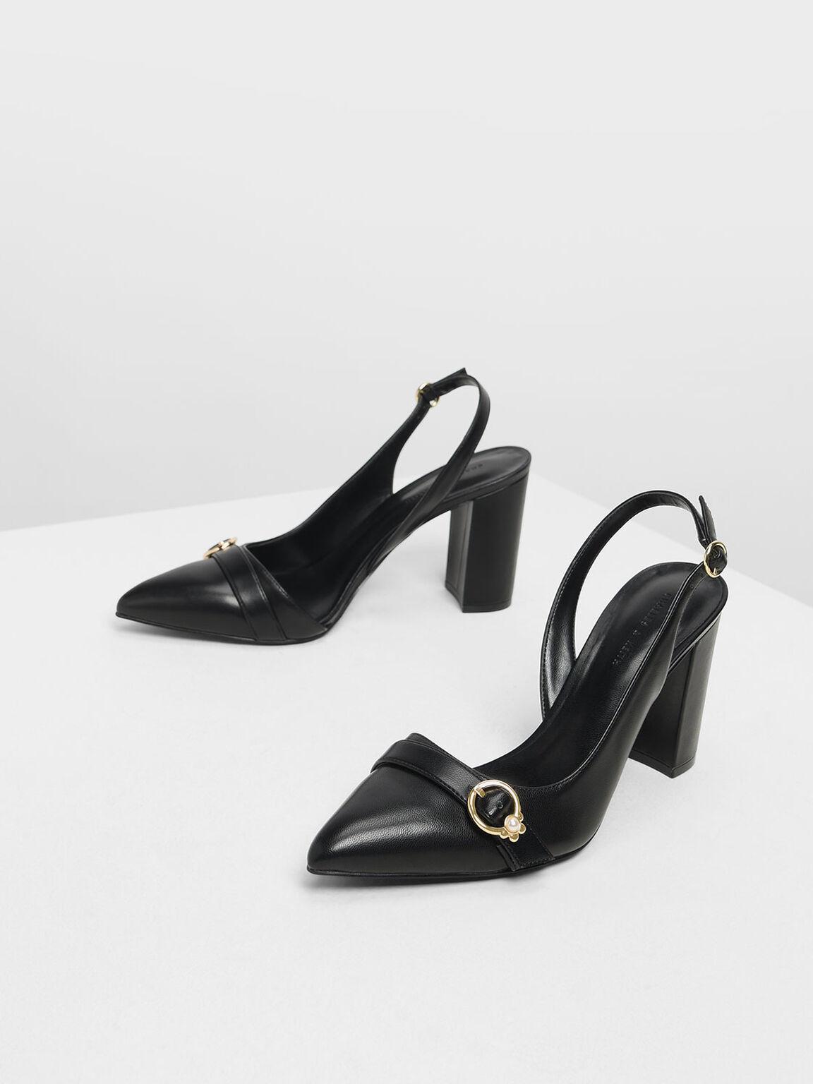 鑲嵌珍珠粗跟鞋, 黑色, hi-res
