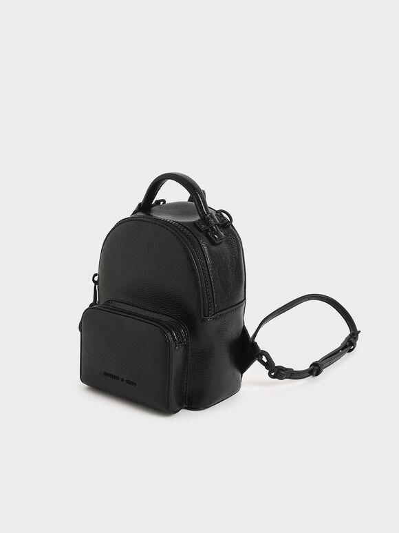 Mini Double Zip Backpack, Black, hi-res
