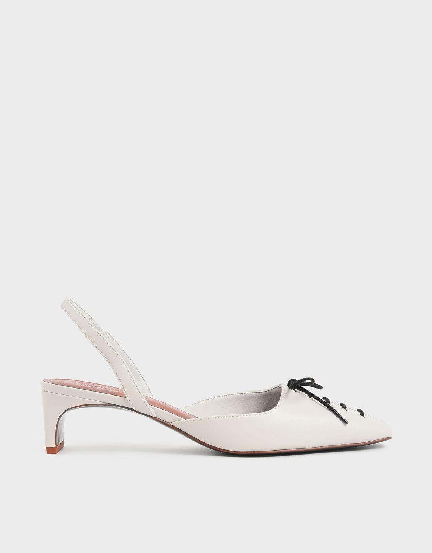 Cream Lace-Up Slingback Heels   CHARLES