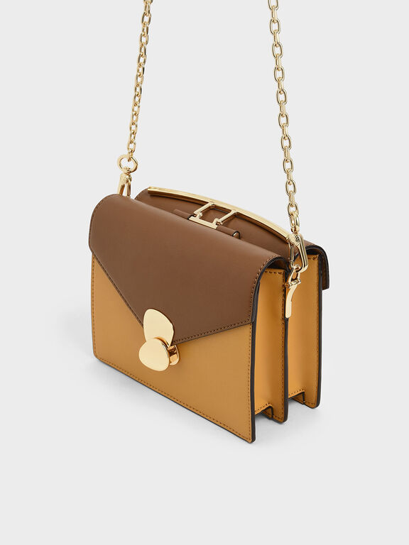 Two-Tone Metallic Push Lock Top Handle Bag, Brown