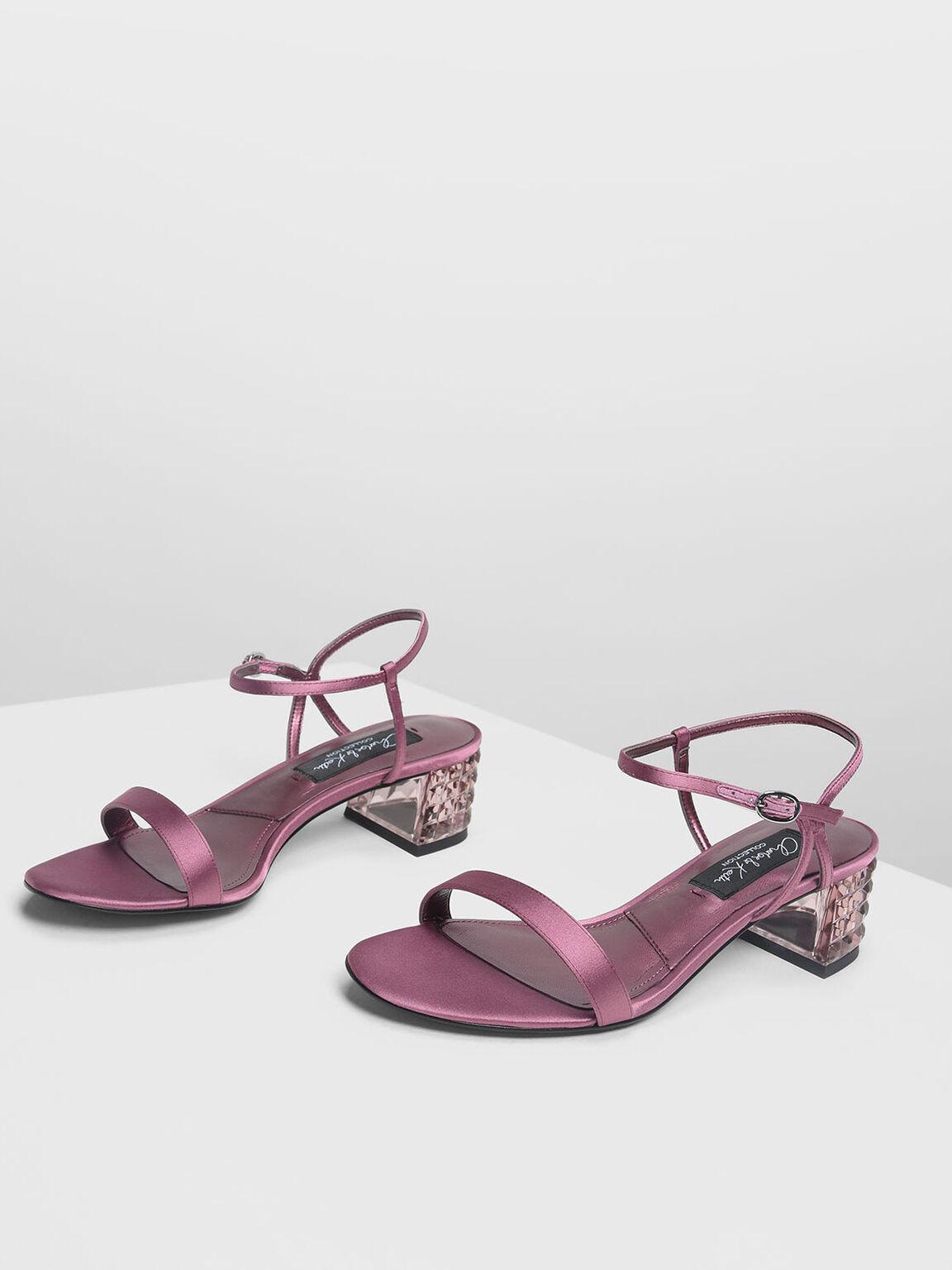 Faceted Lucite Heel Satin Sandals, Pink, hi-res