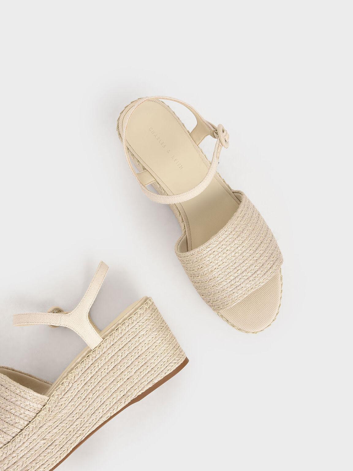 麻繩厚底涼鞋, 奶油色, hi-res