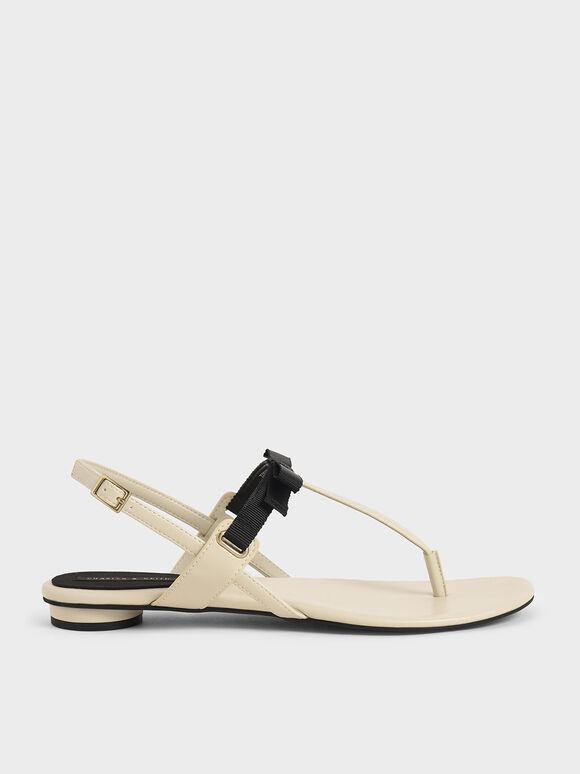 蝴蝶結T字涼鞋, 石灰白, hi-res