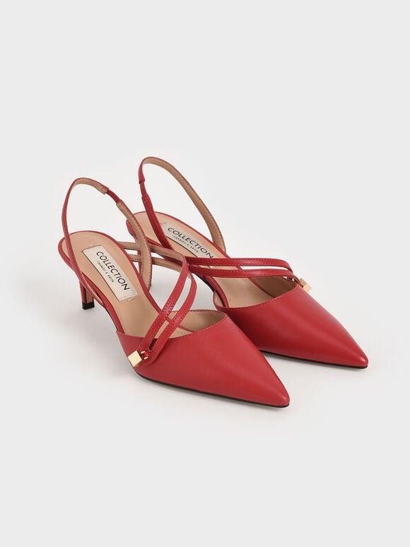 Asymmetric Strap Slingback Heels, Red, hi-res