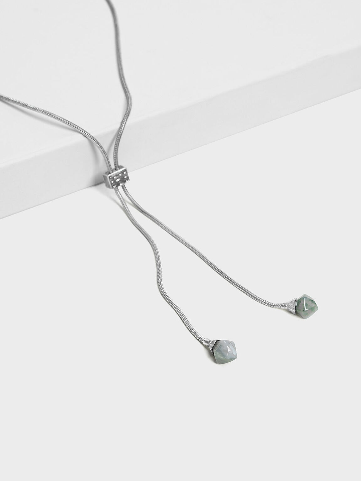 Semi-Precious Stone Drop Necklace, Grey, hi-res