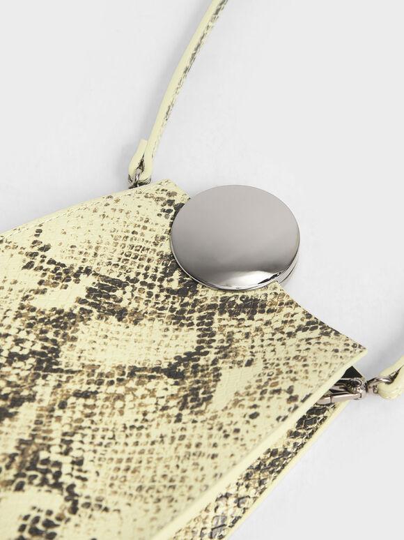 Chrome Detail Snake Print Leather Crossbody Bag, Multi, hi-res