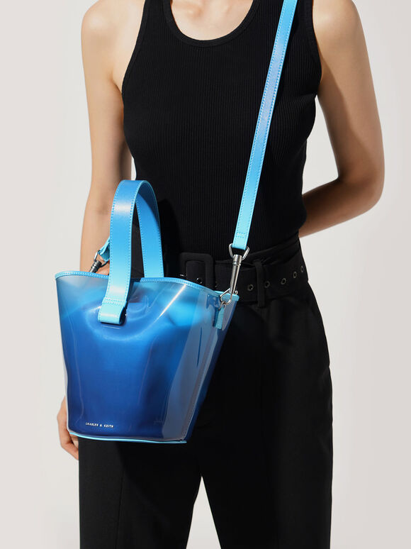See-Through Effect Bucket Bag, Blue, hi-res