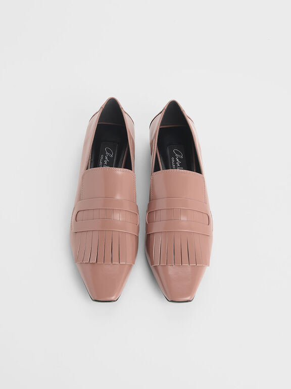Fringed Leather Loafers, Blush