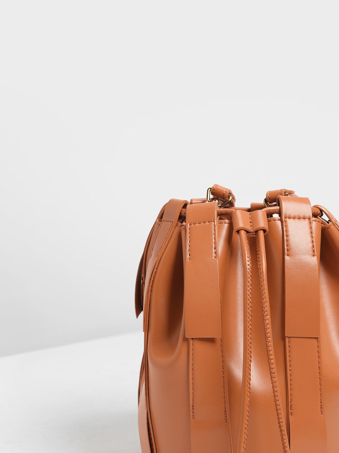 Fringe Bucket Bag, Orange, hi-res