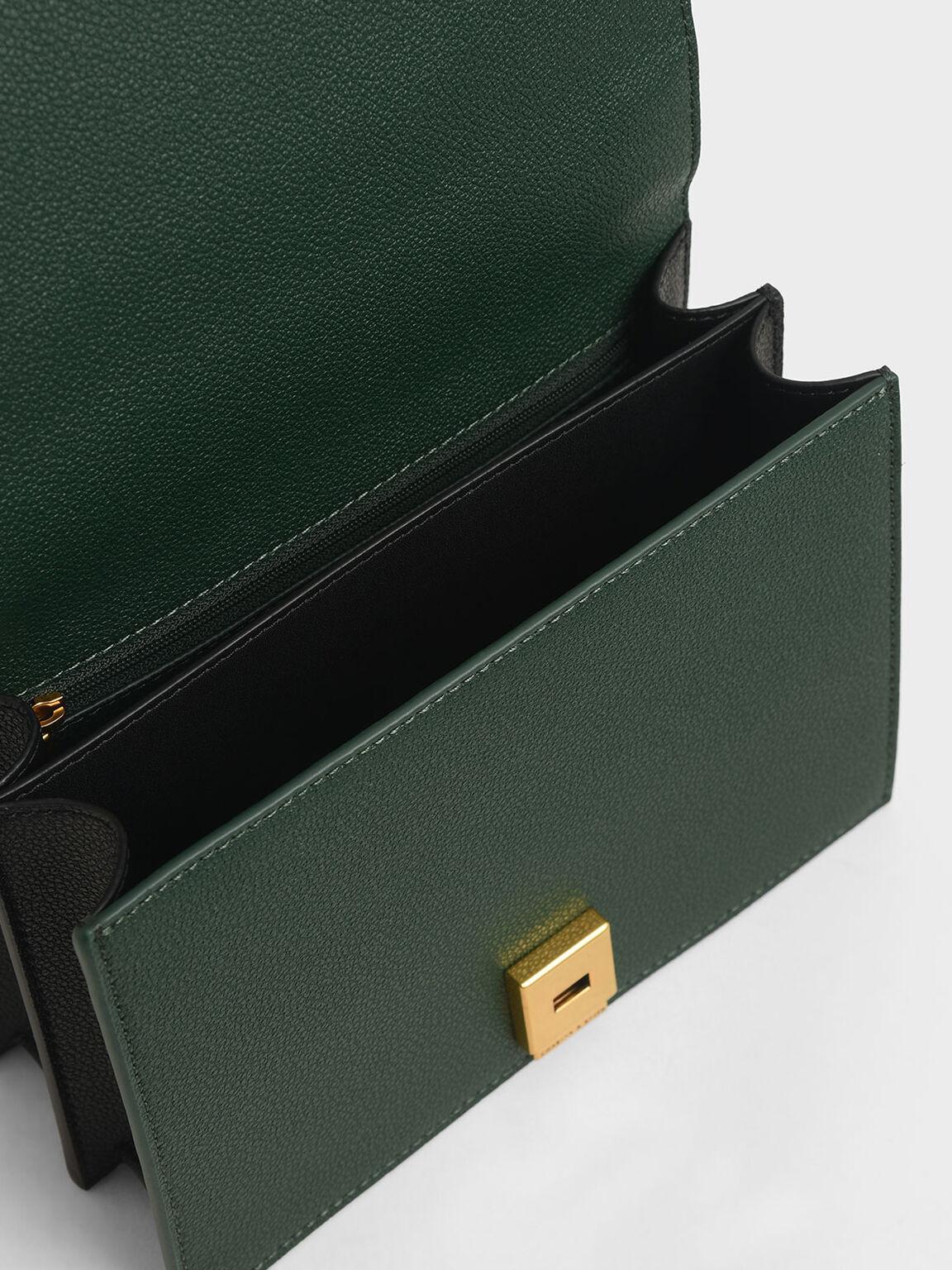 鉚釘鍊條斜背包, 綠色, hi-res