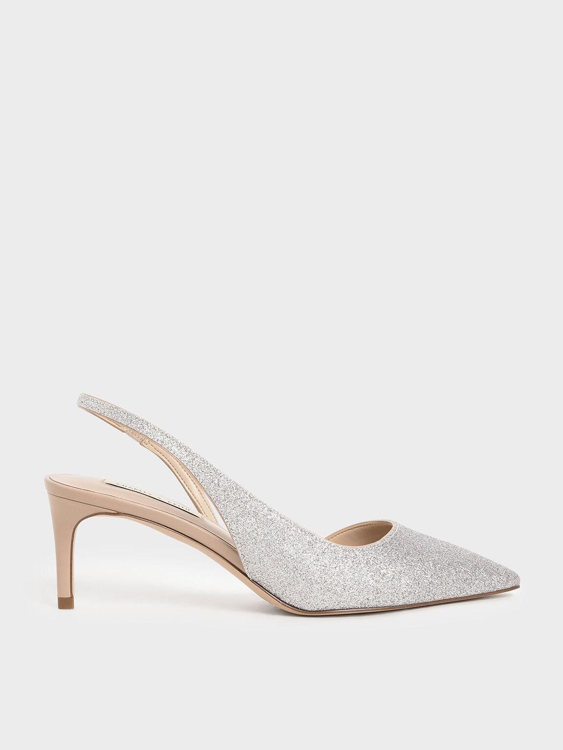 金蔥細跟鞋, 銀色, hi-res