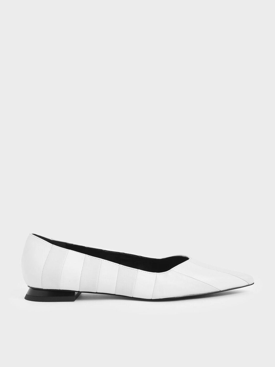 真皮條紋平底鞋, 白色, hi-res