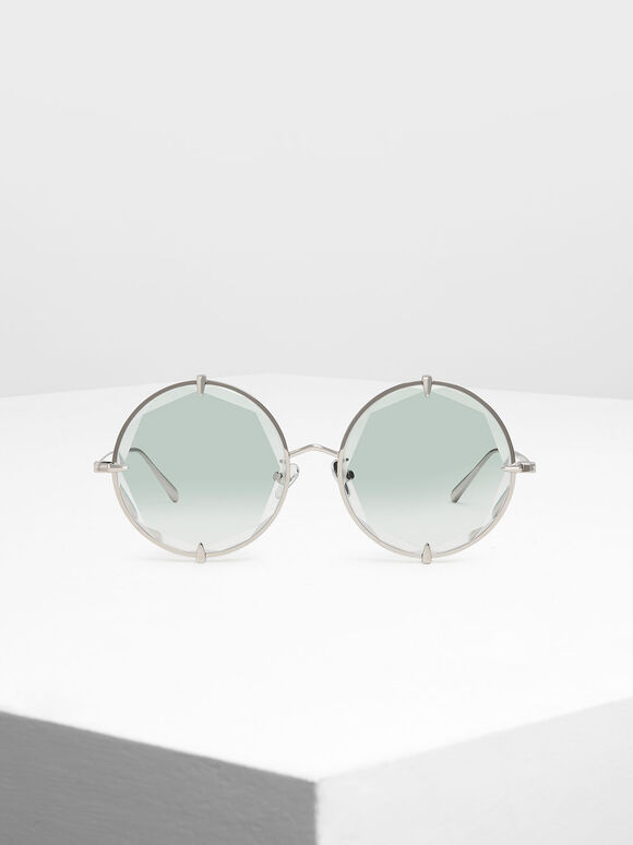 Round Wire Frame Skinny Sunglasses, Multi, hi-res