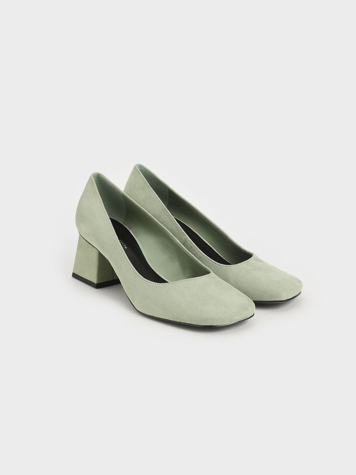 絨面方頭跟鞋, 灰綠色, hi-res