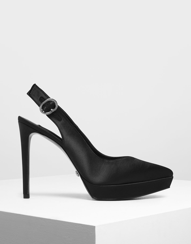 Black Satin Slingback Platform Heels