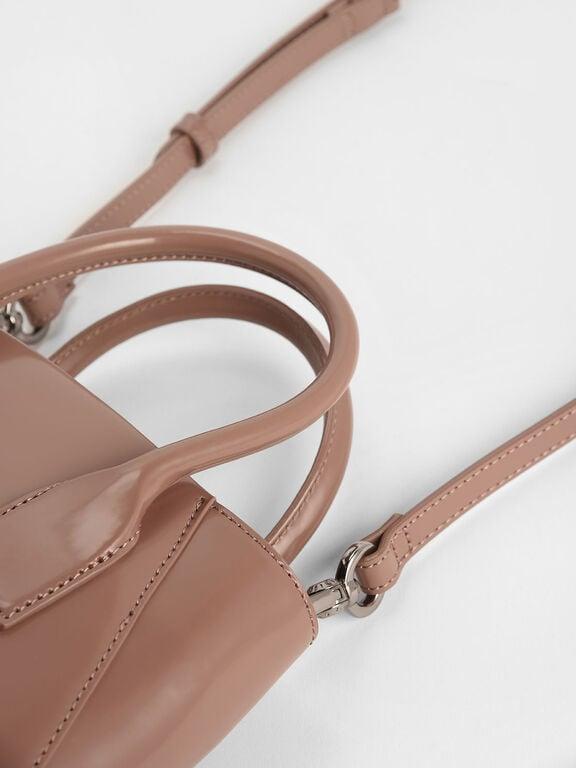 Leather Boxy Bucket Bag, Blush